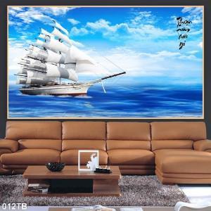 Gạch tranh - tranh thuyền buồm căng gió 3D