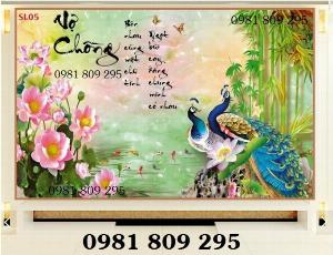 Gạch tranh - tranh 3d chim công - AHH8