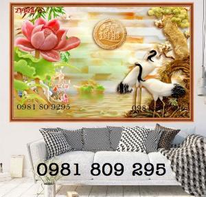 Tranh 3d chim hạc - gạch tranh tùng hạc