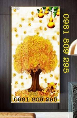 Tranh cây tài lộc - gạch tranh 3d cây đồng tiền