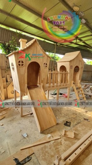 Cầu trượt làm từ gỗ,cầu trượt gỗ dành cho trường mầm non