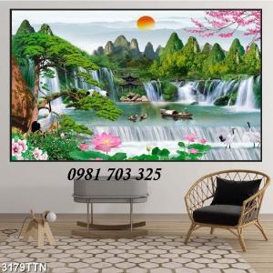 Tranh gạch phong cảnh sơn thủy hữu tình- gạch men 3D phòng khách