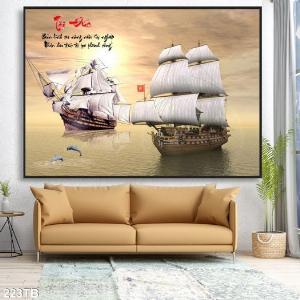 Tranh gạch - thuyền buồm lướt sóng