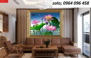Tranh hoa sen - tranh gạch 3d hoa sen - 66XP