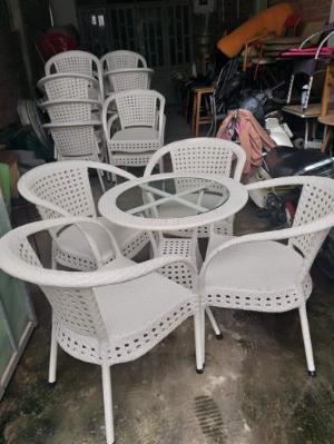 Bộ bàn ghế cafe nhựa giả mây đan mắt cáo giá tại xưởng.