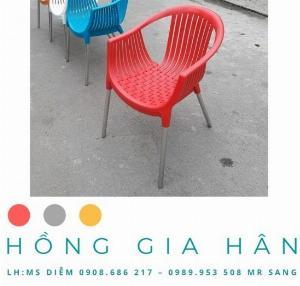 Bàn ghế cafe nhựa đúc Hồng Gia Hân_ghế nữ hoàng