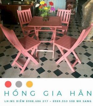 Bàn ghế gỗ Hồng Gia Hân_trà chanh, trà sữa