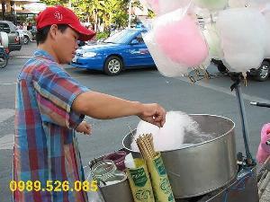Máy làm kẹo bông gòn máy làm kem bông dùng bình ga mini ắc quy 12v