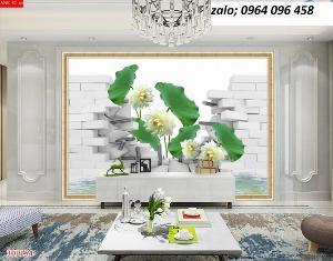 Tranh hoa sen 3d - tranh gạch 3d hoa sen - HVC4