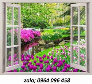 Tranh cửa sổ 3d - tranh gạch 3d cửa sổ - 55XL