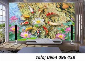 Tranh cá chép 3d - tranh gạch 3d cá chép - HCX3
