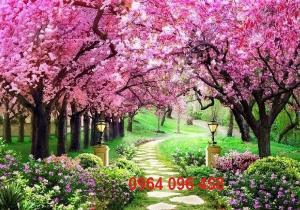 Tranh hoa đào - gạch tranh 3d hoa đào - HDS2