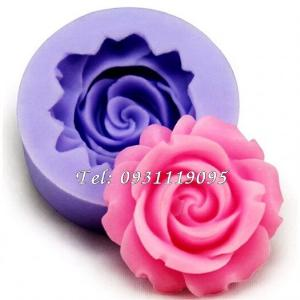 Khuôn silicon làm rau câu hoa hồng xoáy - Mã số 1032