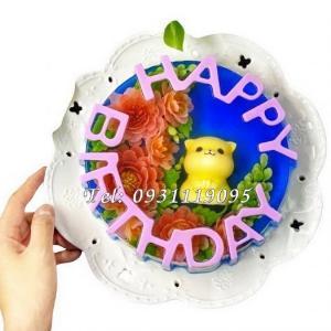 Khuôn silicon làm bánh, rau câu sinh nhật Happy Birthday – Loại 20 cm - Mã số 1034