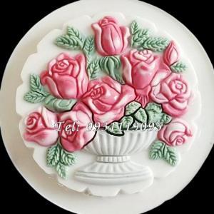 Khuôn rau câu sinh nhật hình tròn bình hoa hồng – Mã số 1037 - Loại 25 cm