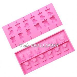 Khuôn silicon làm rau câu, kẹo dẻo, socola vĩ 12 heo con Cute Peppa - Mã số 1038