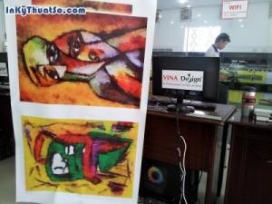In tranh khổ lớn chất liệu canvas mực dầu cho...