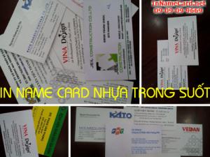 In name card nhựa trong suốt từ nhựa tổng hợp PVC