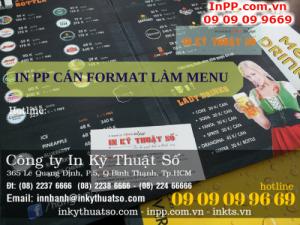 In PP cán format làm menu cho quán cafe