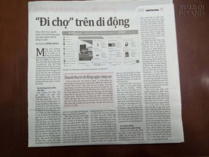 """[ Báo Người Lao Động ] Đưa Tin Về Muabannhanh.Com - """"Đi Chợ"""" Trên Di Động"""
