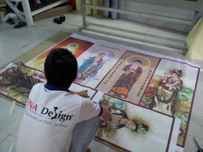 In silk làm tranh thờ, tranh về Phật