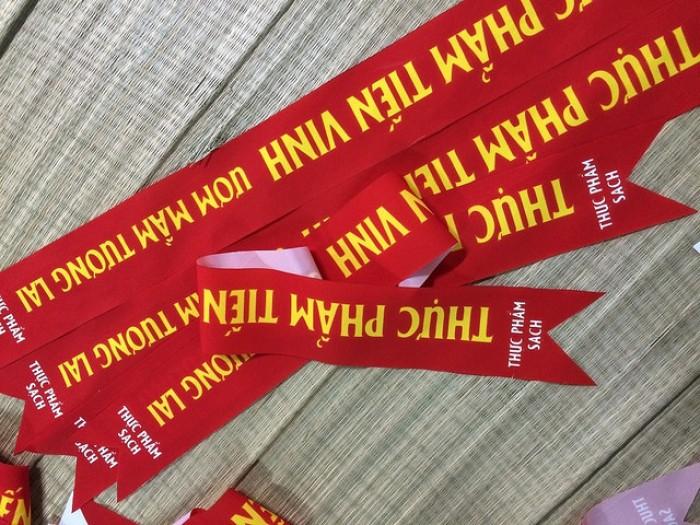 In silk làm dải băng đeo chéo chương trình sự kiện
