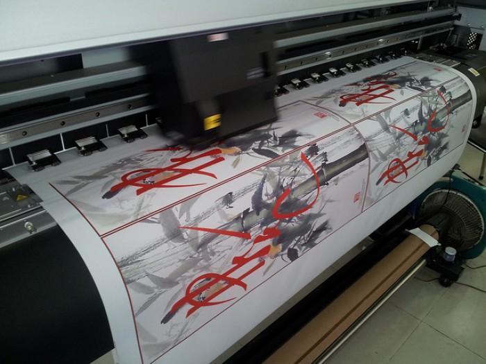 In vải silk - in tranh vải - in tranh thư pháp mực nước