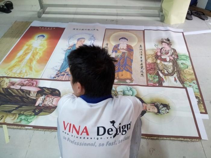 In tranh thờ từ in vải silk, in tranh vải khổ lớn