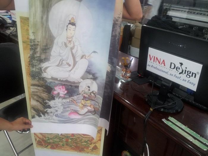 Tranh Phật Bà Quan Âm - in trên vải silk