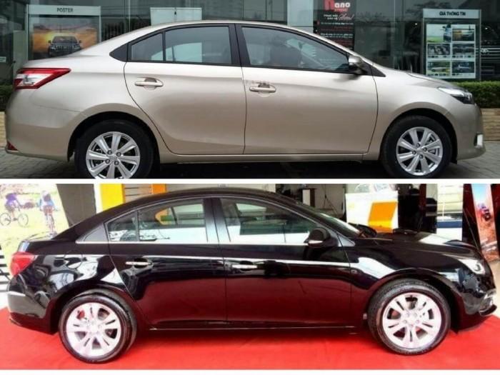 So sánh Toyota Vios và Chevrolet Cruze về thiết kế ngoại thất