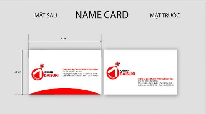 Ghi chú thông tin mặt trước card visit - mặt sau card visit theo hàng ngang cạnh nhau