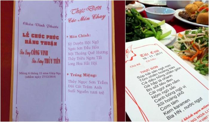Mẫu in thực đơn tiệc cưới - tiếng Việt - mẫu 2