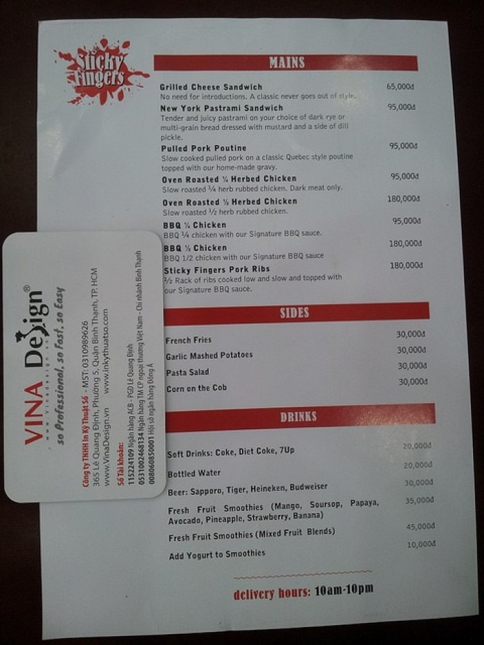 In menu dạng in tờ rơi