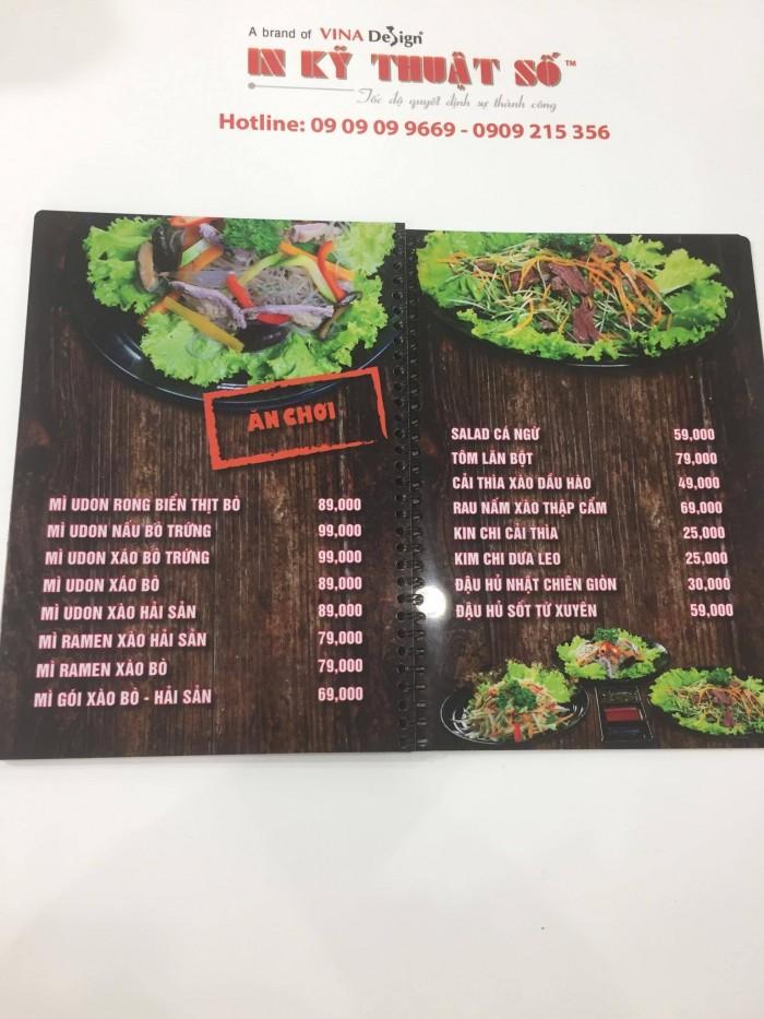 In menu nhựa gáy đóng lò xo