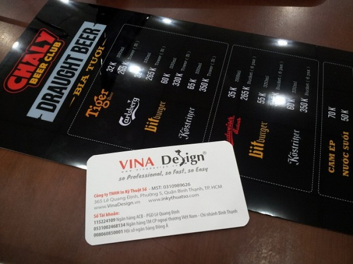 In menu nhựa - dạng tấm đơn - mặt trước