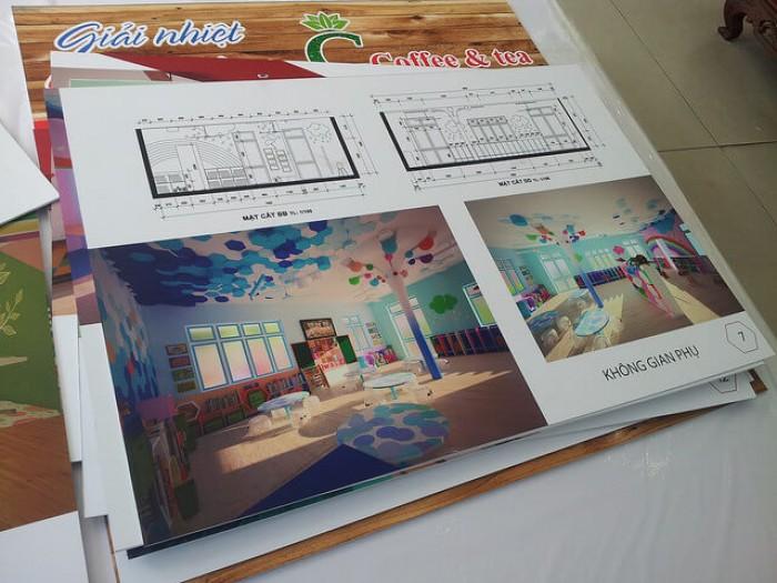 In PP dán formex trang trí công ty thiết kế nội thất