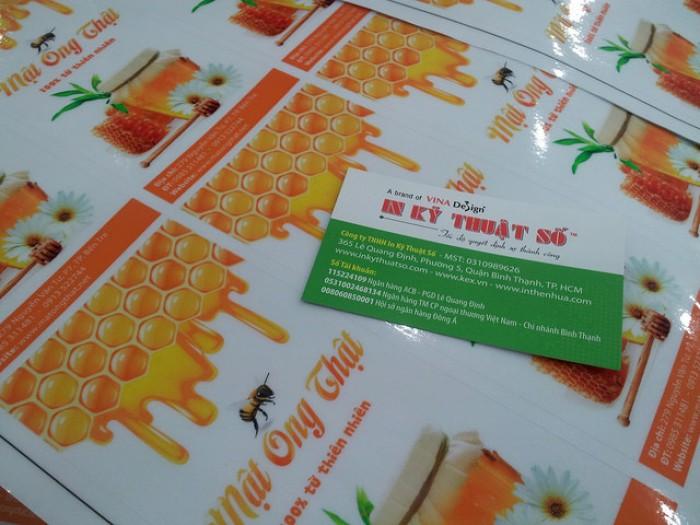 In nhãn dán chai mật ong (hình chữ nhật dọc)