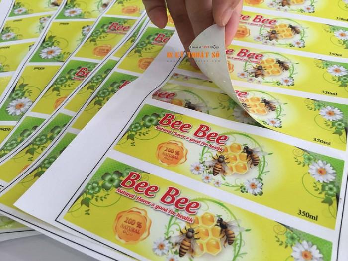In nhãn dán chai mật ong (hình chữ nhật ngang)