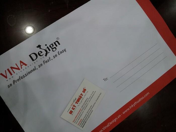 In phong bì thư A4 - mẫu với màu đỏ & đen chủ đạo theo logo của công ty