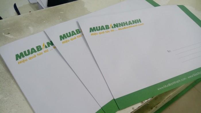 In phong bì thư A4 - mẫu với màu xanh lá cây & vàng chủ đạo theo logo của công ty
