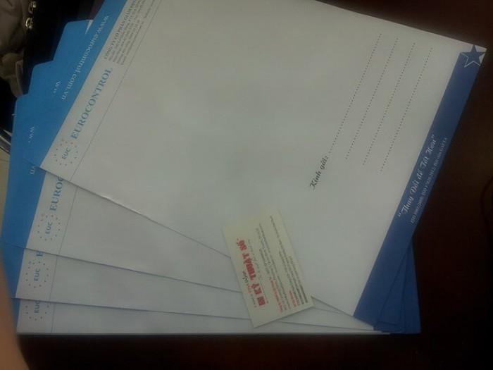 In phong bì thư A4 - mẫu với màu xanh da trời & đen, trắng chủ đạo theo logo của công ty