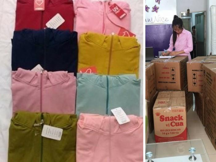 Mẫu áo khoác nữ thời trang thành phẩm được đóng kiện hàng trước khi giao cho khách