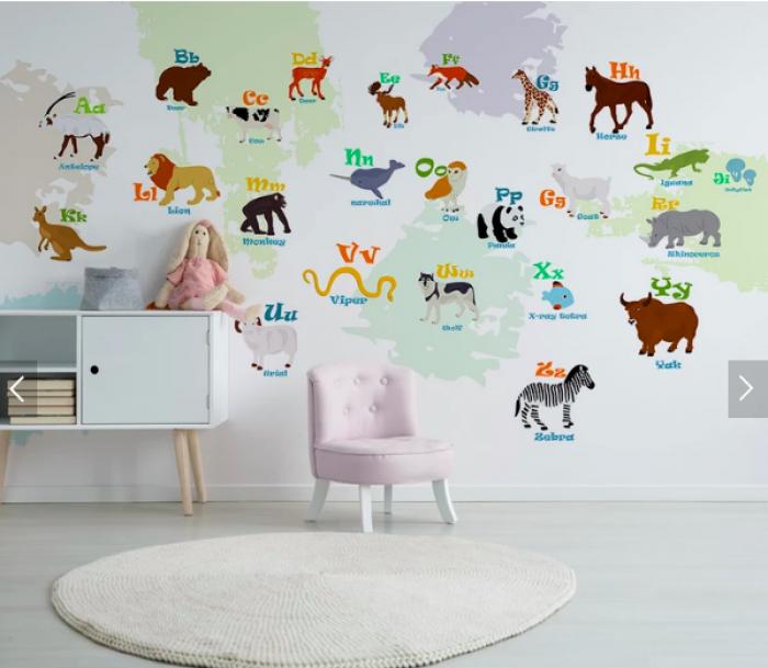 Decal dán tường tiếng Anh - mẫu decal dán tường cho bé