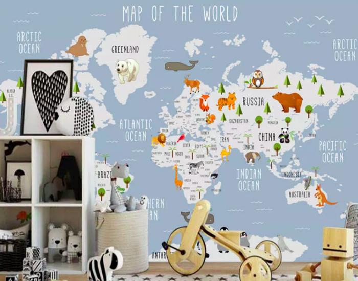 Decal dán tường bản đồ thế giới - mẫu decal dán tường phòng bé