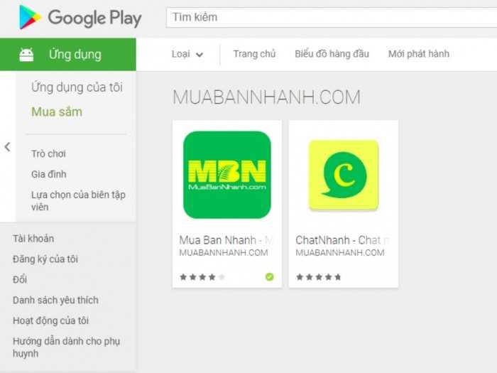 Các ứng dụng dành cho Android trên MuaBanNhanh