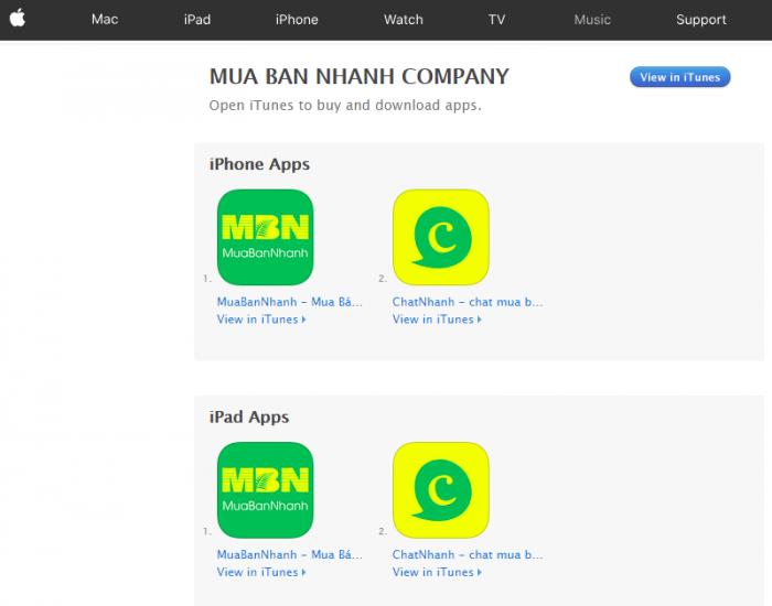 Các ứng dụng dành cho iOS trên MuaBanNhanh