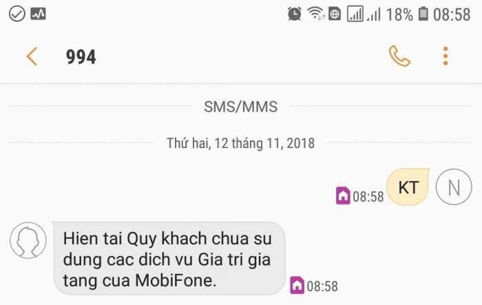 Kiểm tra trừ tiền SMS mạng Mobifone
