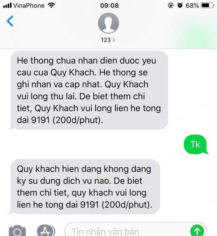Kiểm tra trừ tiền SMS mạng Vinaphone