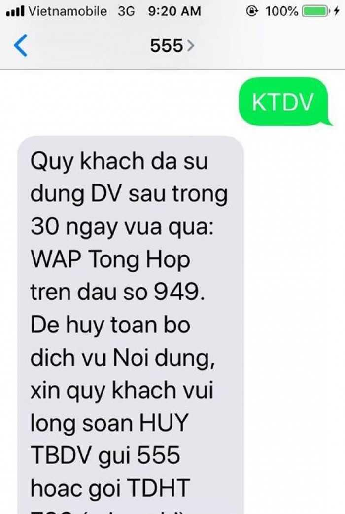 Kiểm tra trừ tiền SMS mạng Vietnamobile