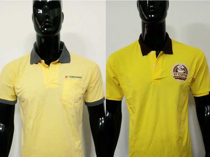 Áo thun đồng phục có cổ màu vàng, cổ & tay bo viền đen, logo in